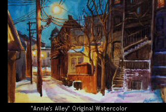 """Annie's Alley"" Original Watercolor"